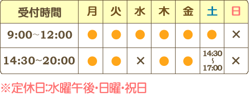 【受付時間】月火木金は9時~12時、14時30分~20時|水は9時~12時まで|土は9時~12時、14時30分~17時【定休日】水曜午後・日曜・祝日